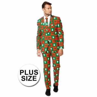 Goedkope big sized compleet kostuum in kerst stijl