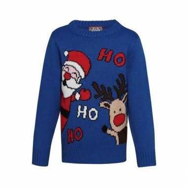 Goedkope blauwe kindertrui voor kerst met kerstman