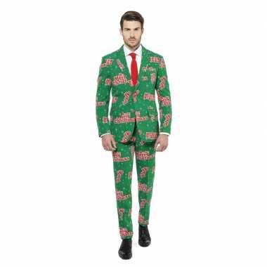 Goedkope compleet kostuum groen met kerst print