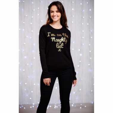 Goedkope dames kersttrui zwart met goud