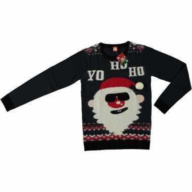 Goedkope donker blauwe kerstmis trui coole kerstman voor volwassenen
