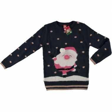 Goedkope donker blauwe kerstmis trui kerstman voor dames