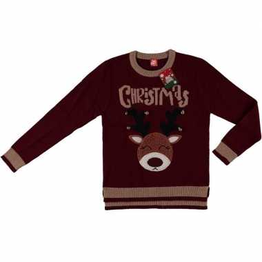 Goedkope donker rode kerstmis trui rendier voor dames