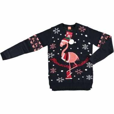 Goedkope donkerblauwe kerstmis trui flamingo voor dames