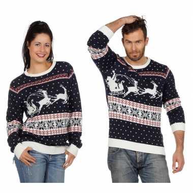 Goedkope donkerblauwe trui voor kerst met rendieren