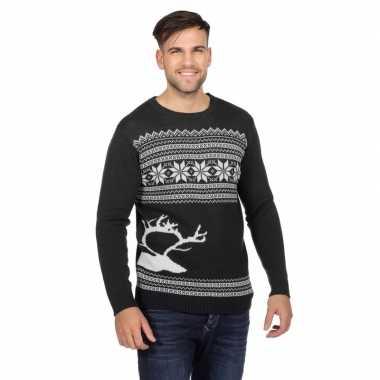 Goedkope donkergrijze trui voor kerst met rendier