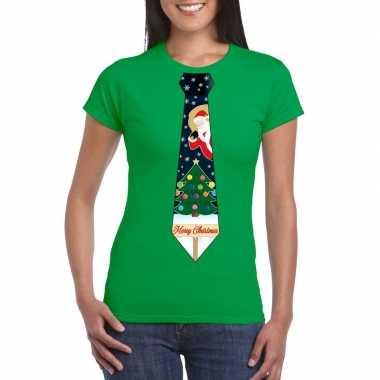 Goedkope fout kerst t trui groen met kerstboom stropdas voor dames