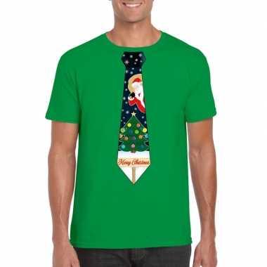 Goedkope fout kerst t trui groen met kerstboom stropdas voor heren
