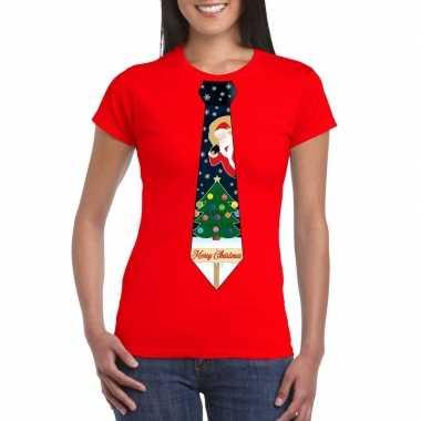 Goedkope fout kerst t trui rood met kerstboom stropdas voor dames