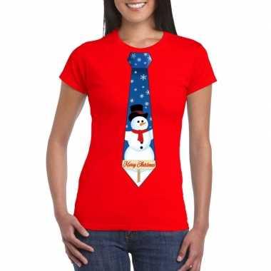 Goedkope fout kerst t trui rood met sneeuwpop stropdas voor dames