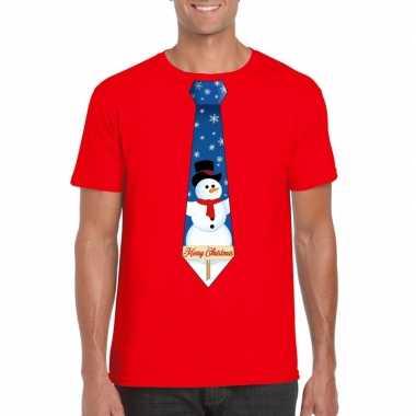 Goedkope fout kerst t trui rood met sneeuwpop stropdas voor heren