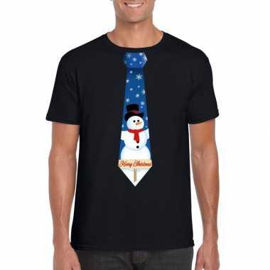 Goedkope fout kerst t trui zwart met sneeuwpop stropdas voor heren