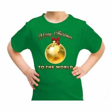 Goedkope fout kerstrui merry christmas to the world groen kinderen