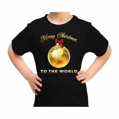 Goedkope fout kerstrui merry christmas to the world zwart kinderen