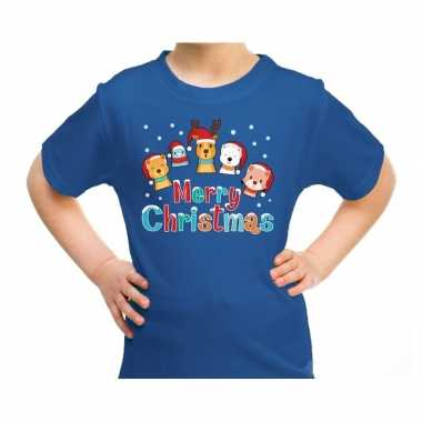 Goedkope fout kerstrui / t trui dieren merry christmas blauw kids