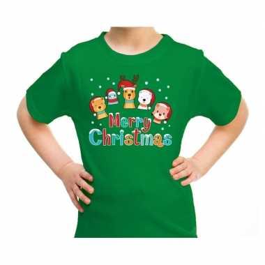 Goedkope fout kerstrui / t trui dieren merry christmas groen kids