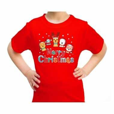 Goedkope fout kerstrui / t trui dieren merry christmas rood kids