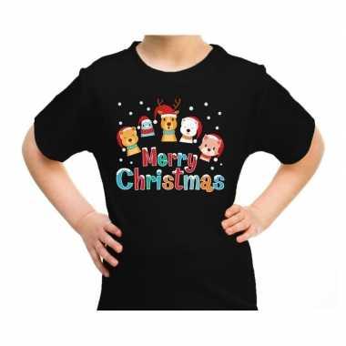 Goedkope fout kerstrui / t trui dieren merry christmas zwart kids