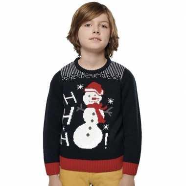 Goedkope foute blauwe kersttruien sneeuwpop print voor kinderen