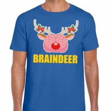 Goedkope foute kerst t trui braindeer blauw voor heren