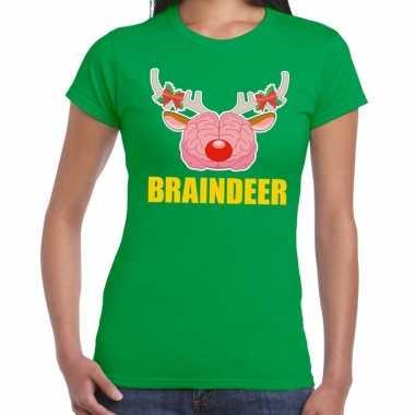 Goedkope foute kerst t trui braindeer groen voor dames
