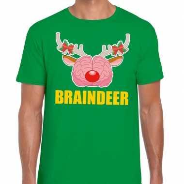Goedkope foute kerst t trui braindeer groen voor heren