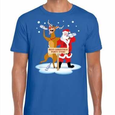 Goedkope foute kerst t trui dronken kerstman en rudolf blauw heren