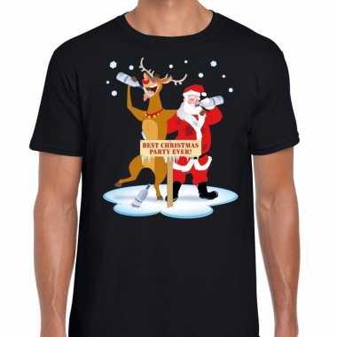 Goedkope foute kerst t trui dronken kerstman en rudolf zwart heren