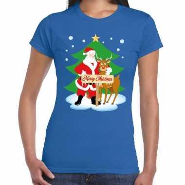 Goedkope foute kerst t trui kerstman en rendier rudolf blauw dames