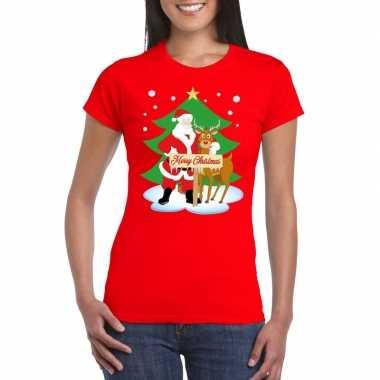 Goedkope foute kerst t trui kerstman en rendier rudolf rood dames
