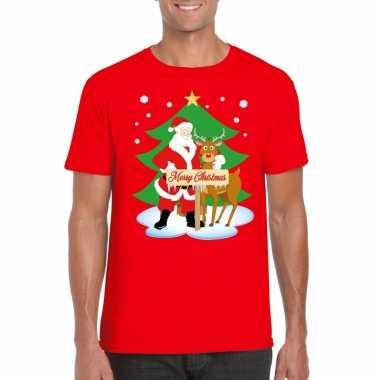 Goedkope foute kerst t trui kerstman en rendier rudolf rood heren