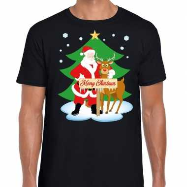 Goedkope foute kerst t trui kerstman en rendier rudolf zwart heren