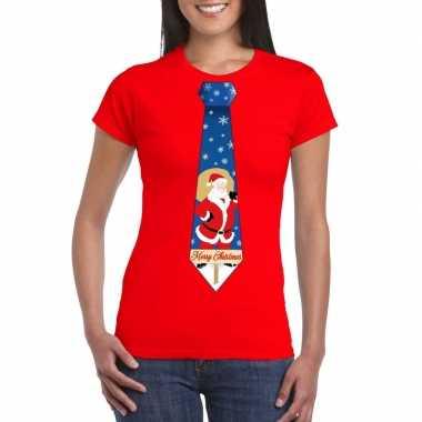 Goedkope foute kerst t trui stropdas met kerstman print rood voor dam