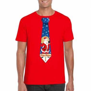 Goedkope foute kerst t trui stropdas met kerstman print rood voor her