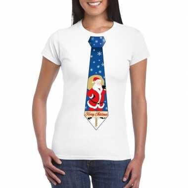 Goedkope foute kerst t trui stropdas met kerstman print wit voor dame