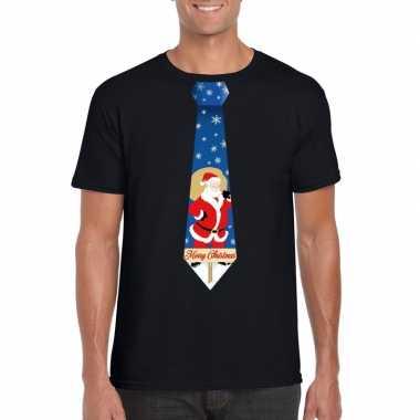 Goedkope foute kerst t trui stropdas met kerstman print zwart voor he