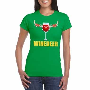 Goedkope foute kerst t trui winedeer groen voor dames