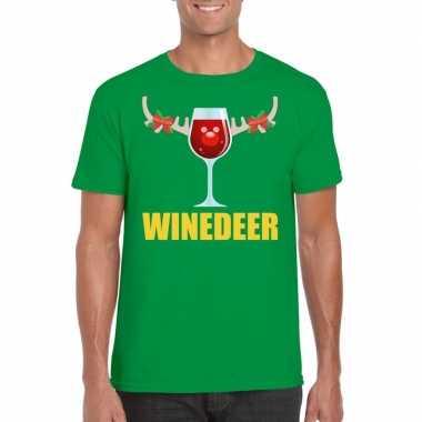 Goedkope foute kerst t trui winedeer groen voor heren