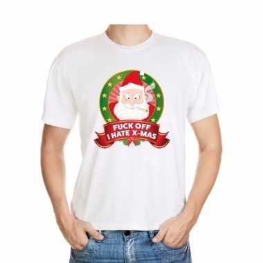 Goedkope foute kerstmis trui wit fuck off i hate x mas voor mannen