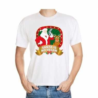 Goedkope foute kerstmis trui wit santa is no vegan voor mannen