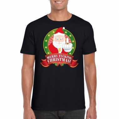 Goedkope foute kerstmis trui zwart merry fucking christmas voor mannen
