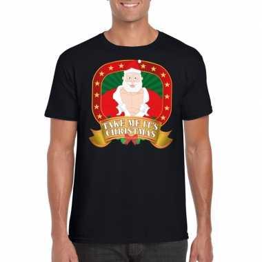 Goedkope foute kerstmis trui zwart take me its christmas voor mannen