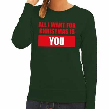 Goedkope foute kersttrui all i want for christmas is you groen dames