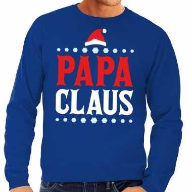 Goedkope foute kersttrui blauw papa claus voor heren