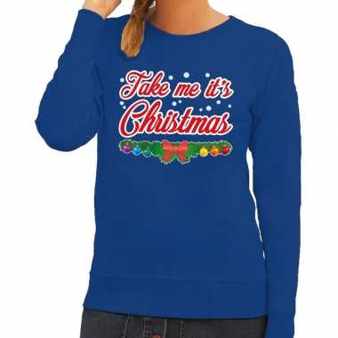 Goedkope foute kersttrui blauw take me its christmas voor dames