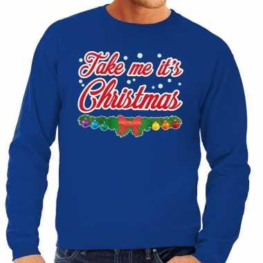 Goedkope foute kersttrui blauw take me its christmas voor heren