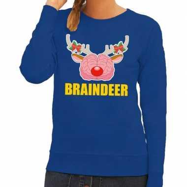 Goedkope foute kersttrui braindeer blauw voor dames