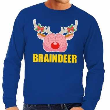 Goedkope foute kersttrui braindeer blauw voor heren
