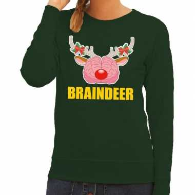 Goedkope foute kersttrui braindeer groen voor dames