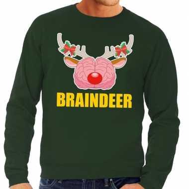 Goedkope foute kersttrui braindeer groen voor heren